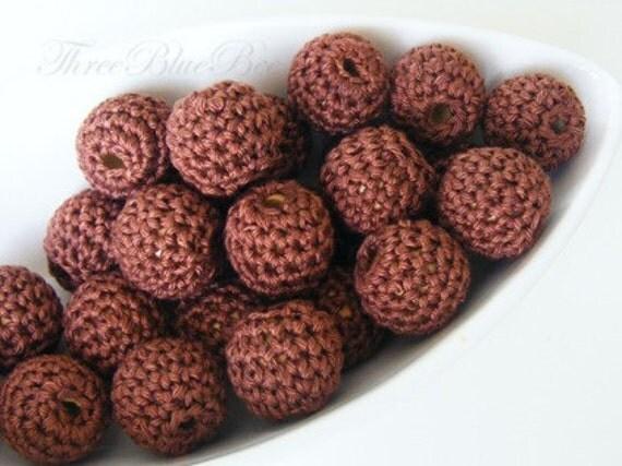 Crocheted  Beads 12 Pcs Chocolate