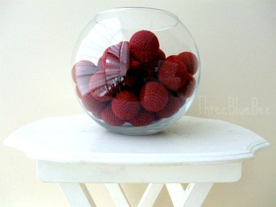 Big Vase Filler Balls Burgundy 6Pcs (Without Holes)