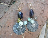 PEACOCKS - French Art Nouveau Charm Earrings with Blue Iolite and Aquamarines