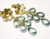 Green Mystic Quartz Flower Post Earrings