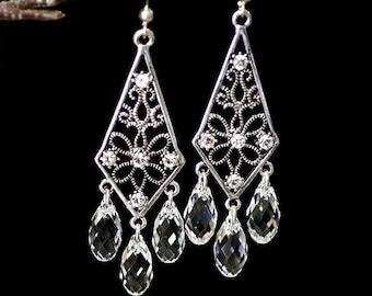 Kite Chandelier Crystal Earrings in Sterling Silver