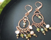 Copper Chandelier Earrings, with Pearls and Swarovski Crystals