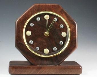 Wood and Rock Desk Clock (RR 4106)
