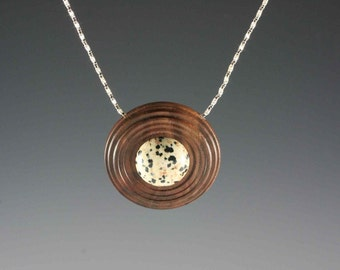 Pendant of Dalmation stone on Walnut on 16 inch sterling chain (RR 2167)