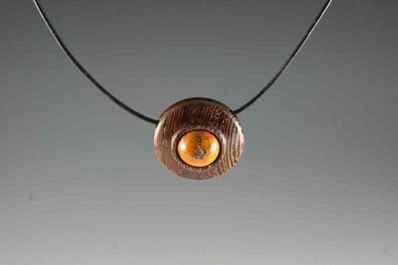 Pendant of Petrified Wood on Wenge on 16 inch leather chain (RR 2550)