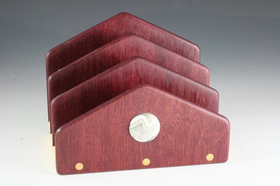 Purpleheart Letter Holder with Mexican Lace Agate (RR 5563)