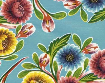 Blooms on Light Blue OilCloth Full Bolt 12 Yards