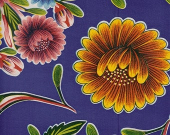 Blooms on Blue OilCloth Yardage