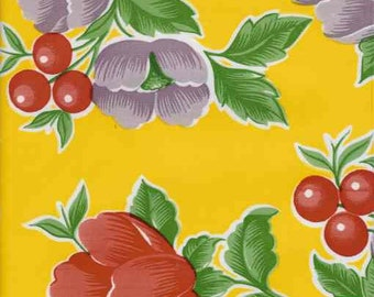 Poppies on Yellow Oilcloth  -Yardage