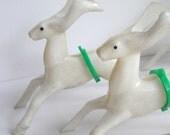 Vintage Reindeer Rosbro White Plastic Christmas Set of 10