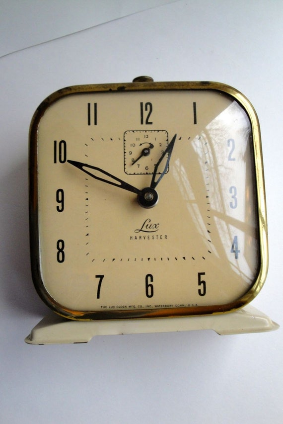 Vintage Clock Alarm Lux Harvester Windup Ivory Gold 1950s RESERVED FOR MARY