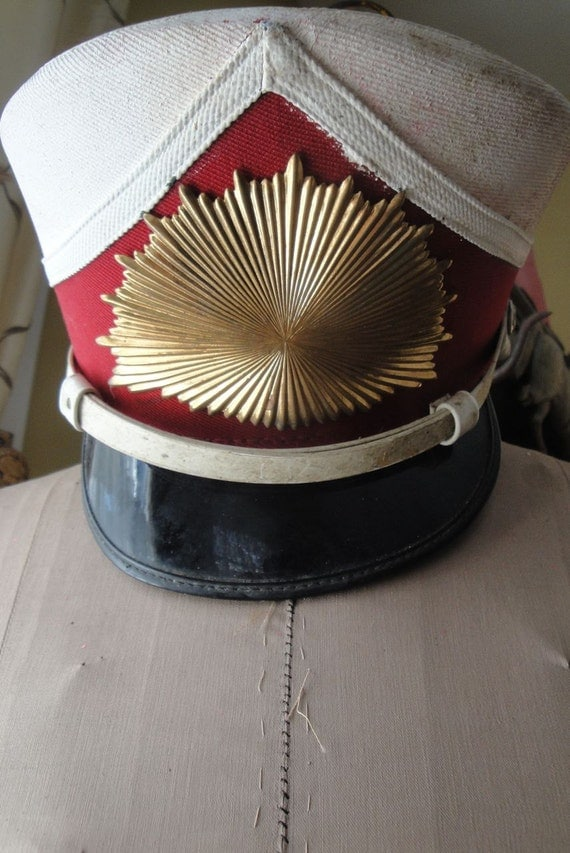 Vintage Marching Band Hat Red White RESERVED FOR CLAIRE