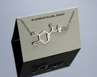 Adrenaline Chemical Structure Necklace in Sterling Silver
