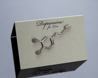 Dopamine Chemical Structure Pin in Sterling Silver