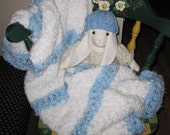 Knit baby Blanket, acrylic yarn (white and blue)