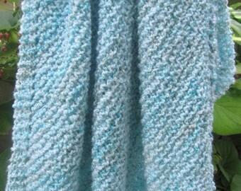 Knit baby blanket acrylic yarn (blues)