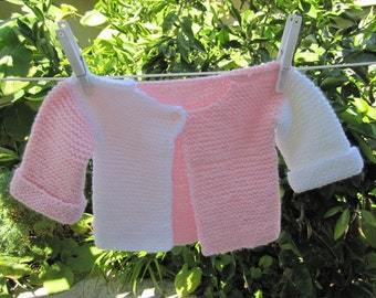Knit baby Sweater acrylic yarn (pink and white)