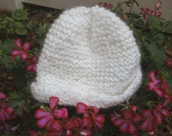 Knit hat,Baby/ Toddler hat, acrylic yarn (white)