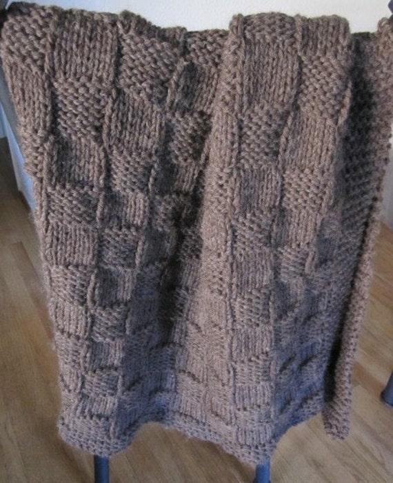 Knit blanket, Throw blanket, (brown wool)