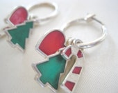 Vintage Christmas Earrings Silver Tone Hoop with Christmas Tree, Candy Cane and Heart FREE SHIPPING