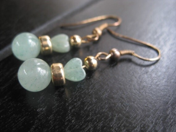 Cute Jade Earrings with Hearts and Gold Tone