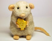 Grey wool mouse - Needlefelted - Handmade work - Best gift - Eco friendly - OOAK - Nature animal - BinneBear collection