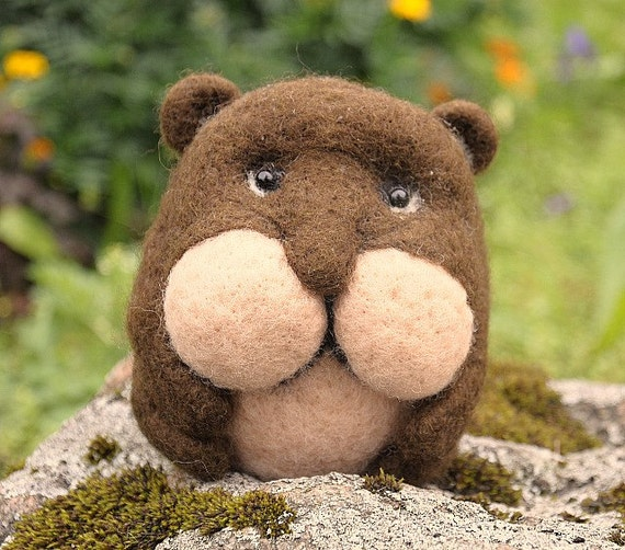 Handmade felted wool hamster brown toy home animal