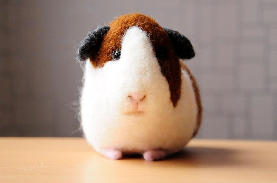 Guinea pig  toy - handmade  wool Cavy- home decore