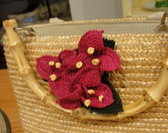 "Crochet Flower Pattern - ""Bougainvillea Pin""  Instant download"