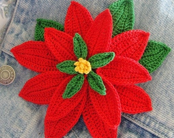 Crochet Poinsettia (3 D Flower) Instant Download