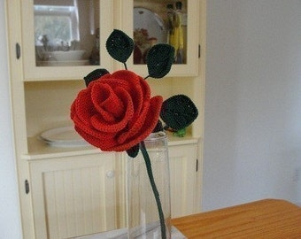 Crochet Long Stemmed Rose Pattern Instant Download
