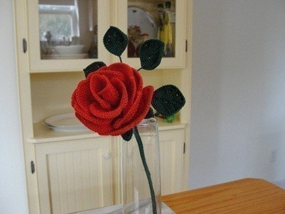 Free Crochet Long Stem Rose Pattern : Crochet Long Stemmed Rose Pattern Instant Download