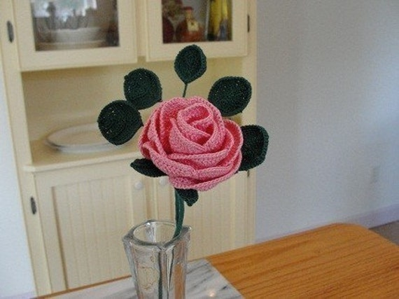 Free Crochet Long Stem Rose Pattern : Crochet Long Stemmed Rose Pattern by rubeania on Etsy