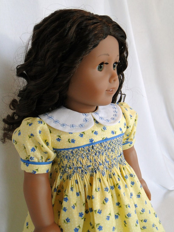 Smocked spring dress for the American girl doll