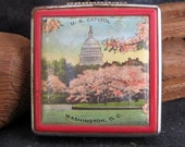 Sale Souvenir Red Cherry Blossom Vintage Compact, US Capitol Washington DC, 1950s