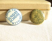 SALE Two Religious Metal Pinbacks, 1950s, Sunday School and St. Christopher 50% OFF