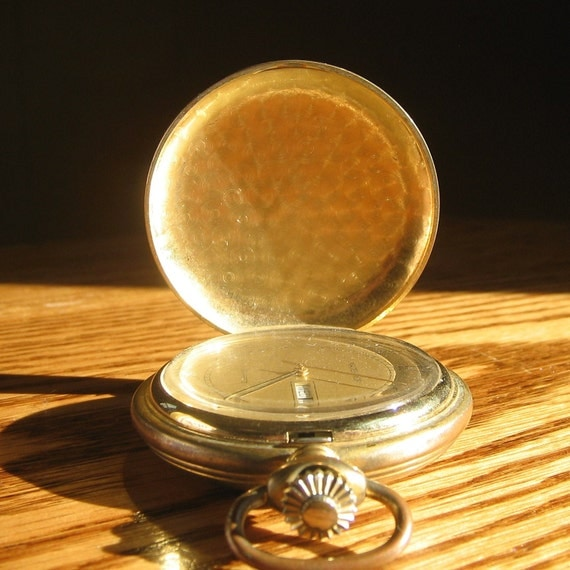 Vintage Majestron Hunter Day Date Pocket Watch, Parts, Mid Century
