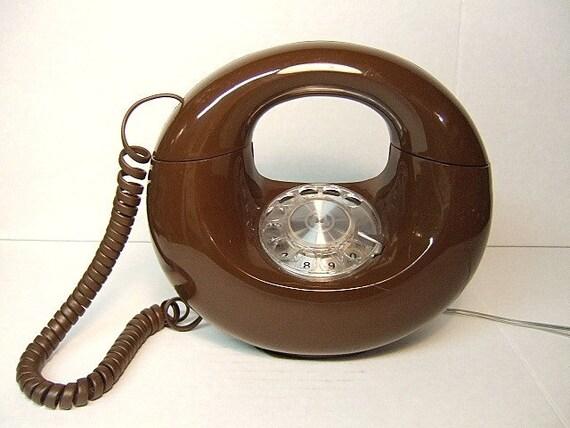 Sculptura Circle Phone Vintage 70's Donut Telephone Rotary Dial Mid-Century Modern Eames Era