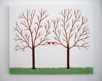 Fingerprint Thumbprint Tree on Canvas with Ink Pads - Personalized  - Wedding Guest Tree - Guest Book Alternative - 175 - 200 Plus Guests