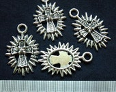 Destash (5) Silver Crucifix Charms - for pendants, jewelry making, crafts, scrapbooking