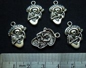 Destash (8) Day of the Dead Skeleton w/ Guitar Charms - for pendants, jewelry making, crafts, scrapbooking