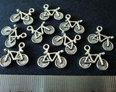 Destash (8) Little Bicycle Charms - for pendants, jewelry making, crafts, scrapbooking