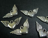 Destash (6) Winged Heart Charms - for pendants, jewelry making, crafts, scrapbooking
