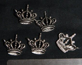 Destash (10) Crown Charms - for pendants, jewelry making, crafts, scrapbooking