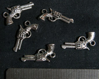 BULK (pkg/30) Six-Shooter Pistol Cowboy Western Hand Gun Charms - for pendants, jewelry making, crafts, scrapbooking