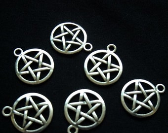Destash (8) Pentagram Star Charms - for pendants, jewelry making, crafts, scrapbooking