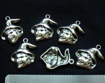 Destash (8) Silver Witch/Wizard Charms - for pendants, jewelry making, crafts, scrapbooking