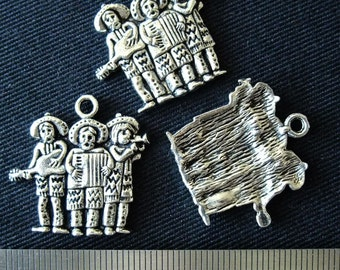 Destash (4) Mariachi Band Charm - for pendants, jewelry making, crafts, scrapbooking