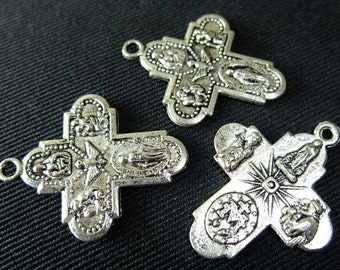 Destash (4) Religious Silver Cross Charms - for pendants, jewelry making, crafts, scrapbooking