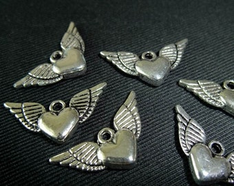 BULK (pkg/30) Winged Heart Charms - for pendants, jewelry making, crafts, scrapbooking